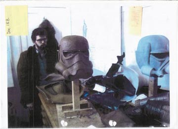 Image: George Lucas viewing the Stormtrooper mock-ups